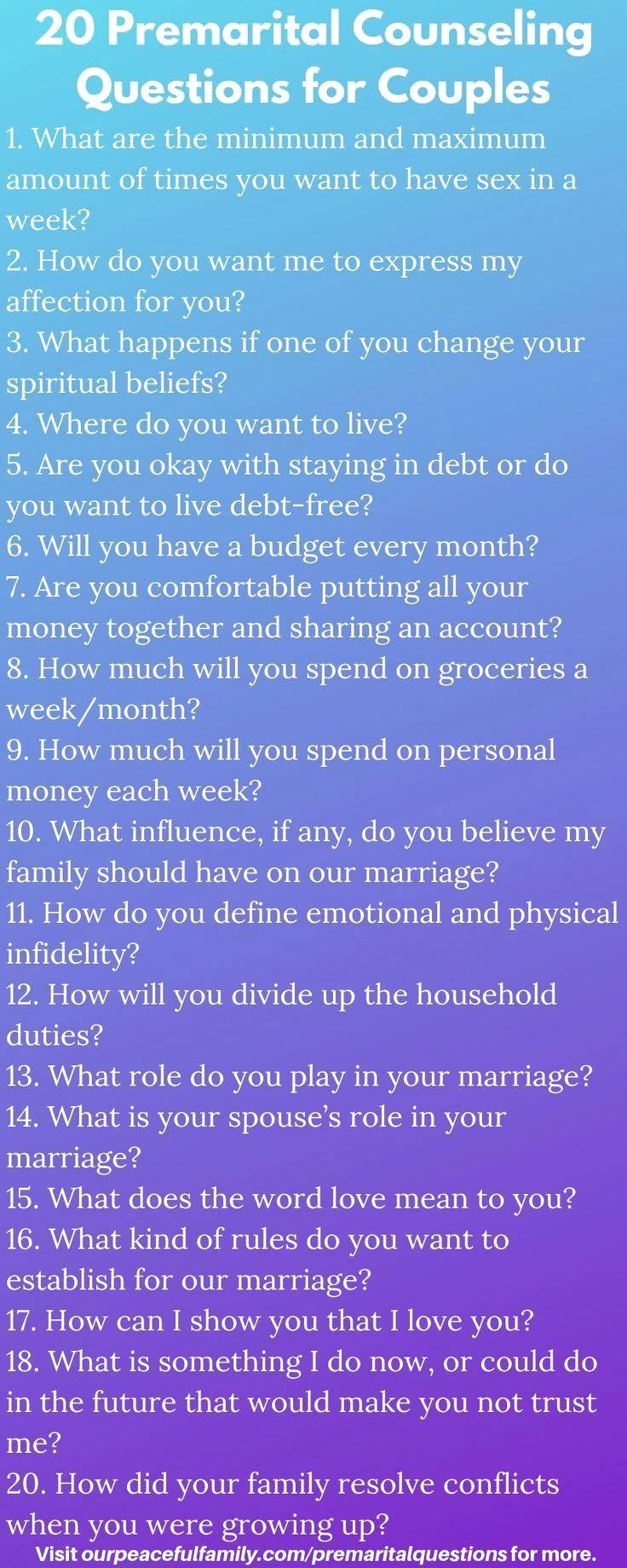 Premarital Counseling Questionaire