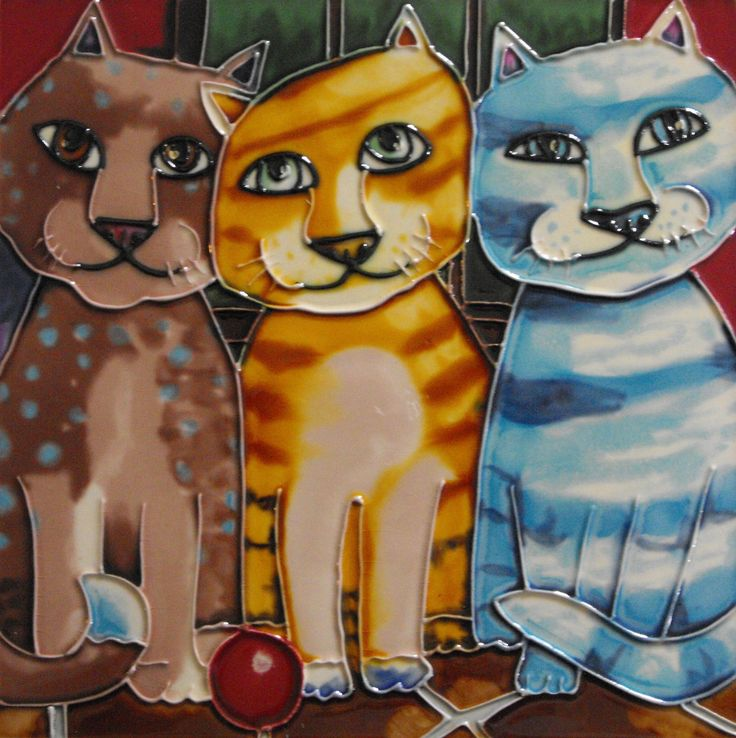 Amazon.com - Вечеринка Кошки Декоративные керамические стены искусства Плитка 8x8 -