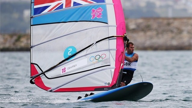 Nick Dempsey of Great Britain windsurfs his way to silver in the men's RS:X Sailing.