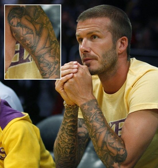 Meaning behind David Beckham's Tattoo: Full David Beckham Tattoo Design On Sleeve ~ heledis.com Celebrity Tattoo Design Inspiration