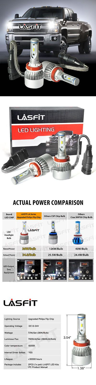 Car Lighting: H11 Led Low Beam Bulbs For Chevy Silverado 1500 2007-2015 2500 3500 Hd 2007-2016 -> BUY IT NOW ONLY: $49.99 on eBay!