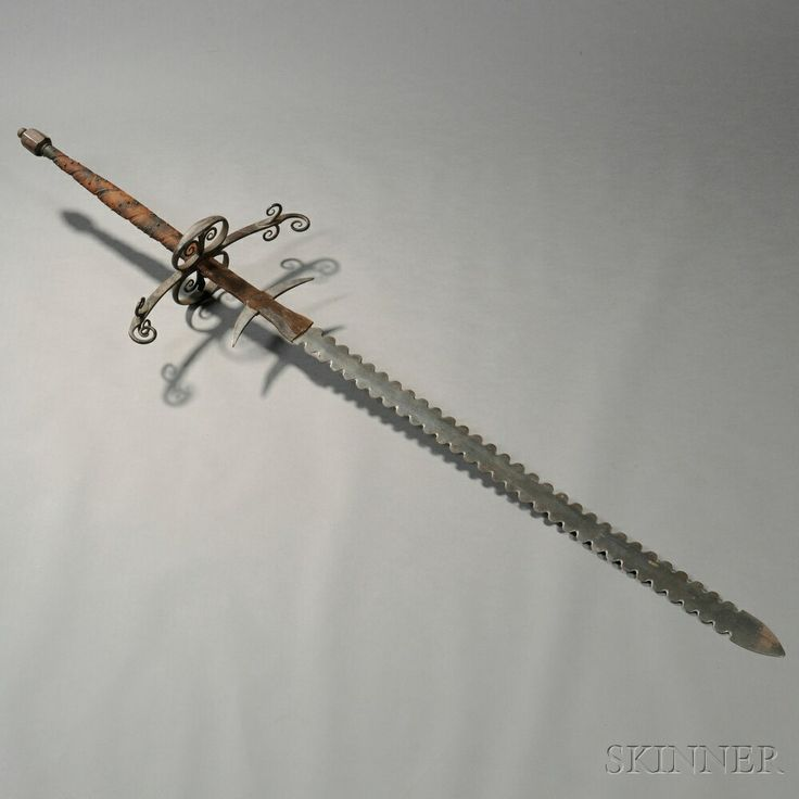 19th Century Two Handed Flamberge Sword Zweihander