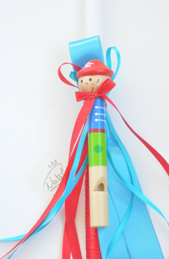 GREEK Easter candle Orthodox Easter lambada Boy Greek Easter lambatha by NatalysWeddingArt