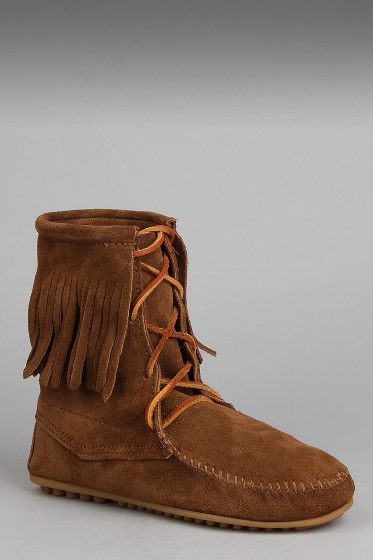 Minnetonka suede leather knee high tall lace up moccasin fringe boots - Minnetonka Ankle High Tramper Moccasin Boots In Dusty Brown Lace Up These Cute Minnetonka Moccasin