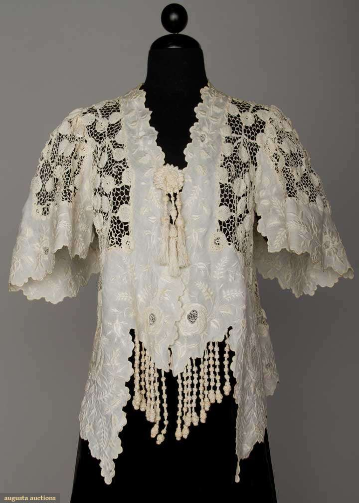 Handmade Lace Jacket, C. 1905, Augusta Auctions, April 17, 2013 - NYC, Lot 216 HANDMADE LACE JACKET, c. 1905 White Irish crochet, bands of white on white embroidery, knotted fringe, short bell sleeves,