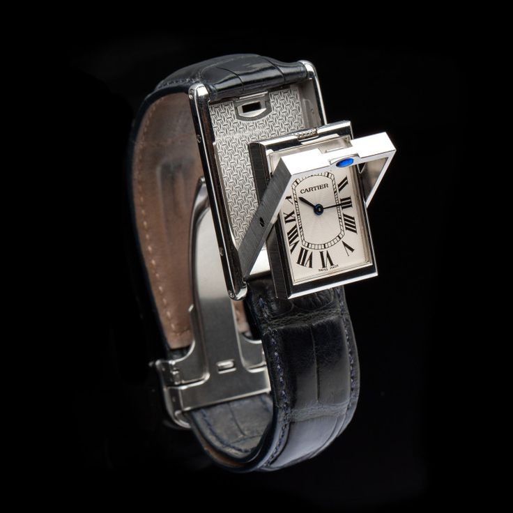 Vintage Cartier Tank Basculante, with steel reversible case to protect the crystal from damage during sports (similar in concept to the JLC Reverso).