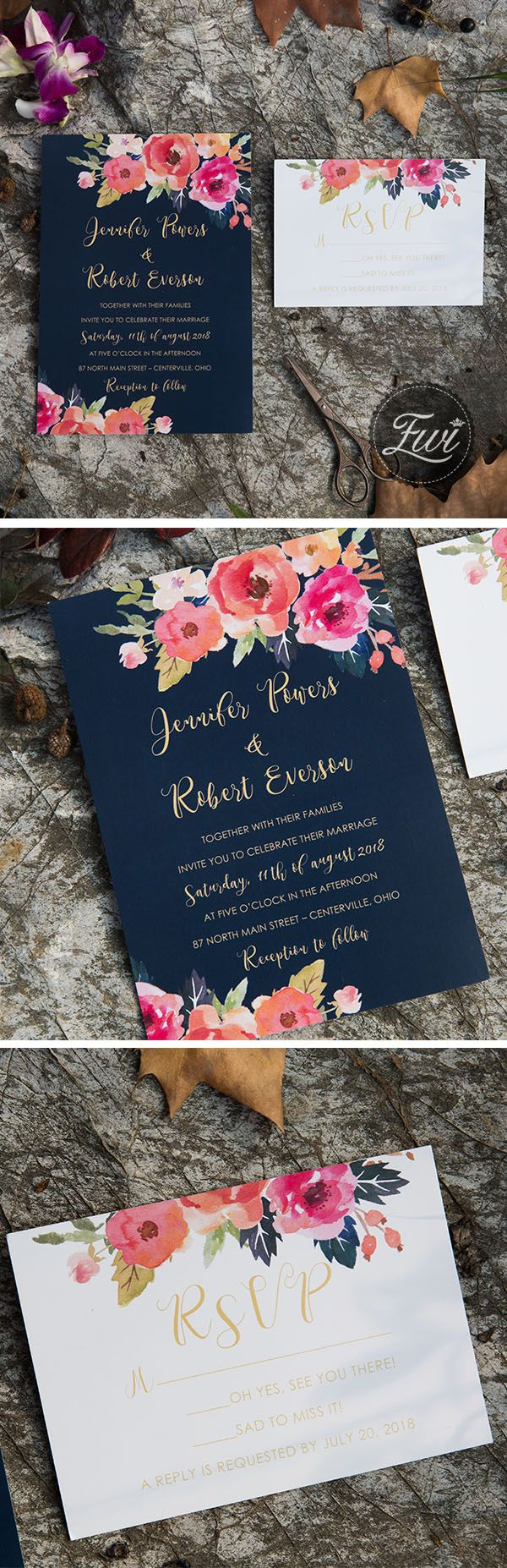 navy blue and floral coral wedding invitation
