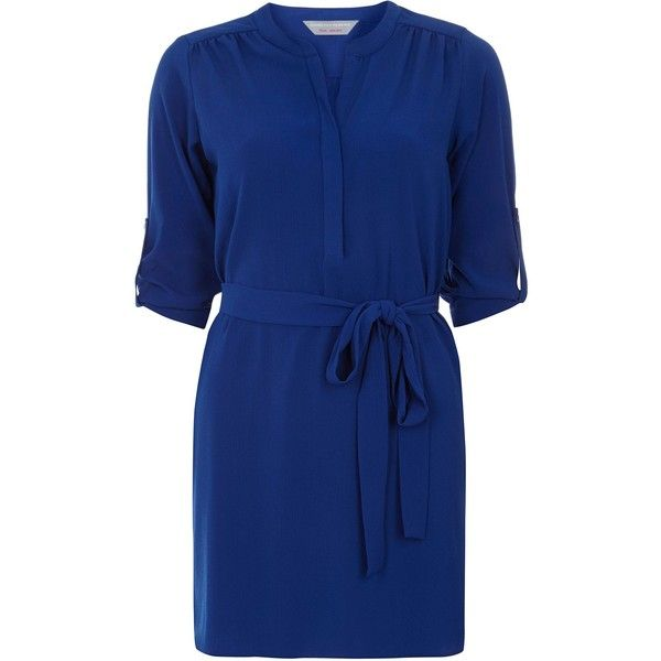 Dorothy Perkins Petite Shirt Dress (£17) ❤ liked on Polyvore featuring dresses, blue, clearance, petite, knee high dresses, long shirt dress, dorothy perkins dress, petite dresses and dorothy perkins