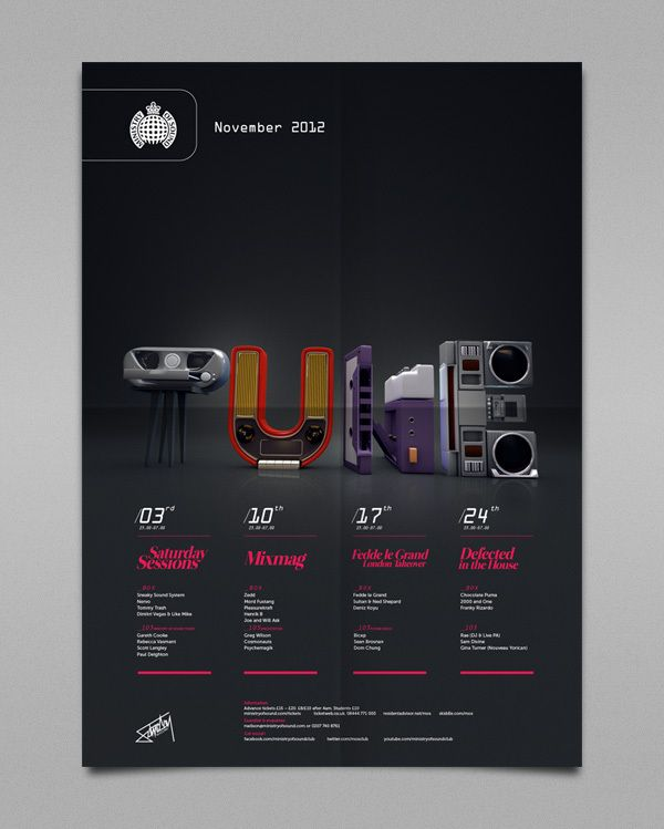 Ministry of Sound Saturday Sessions on Typography Served