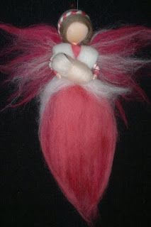 Fairy with baby, wool roving, Waldorf inspired