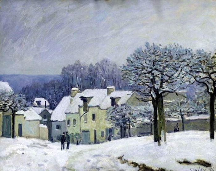 §§§ * The Place du Chenil at Marly-le-Roi, Snow ~ Alfred Sisley 1876