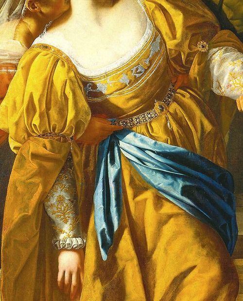 Esther before Ahasuerus, detail; by Artemisia Gentileschi.                             The fabric looks luscious!