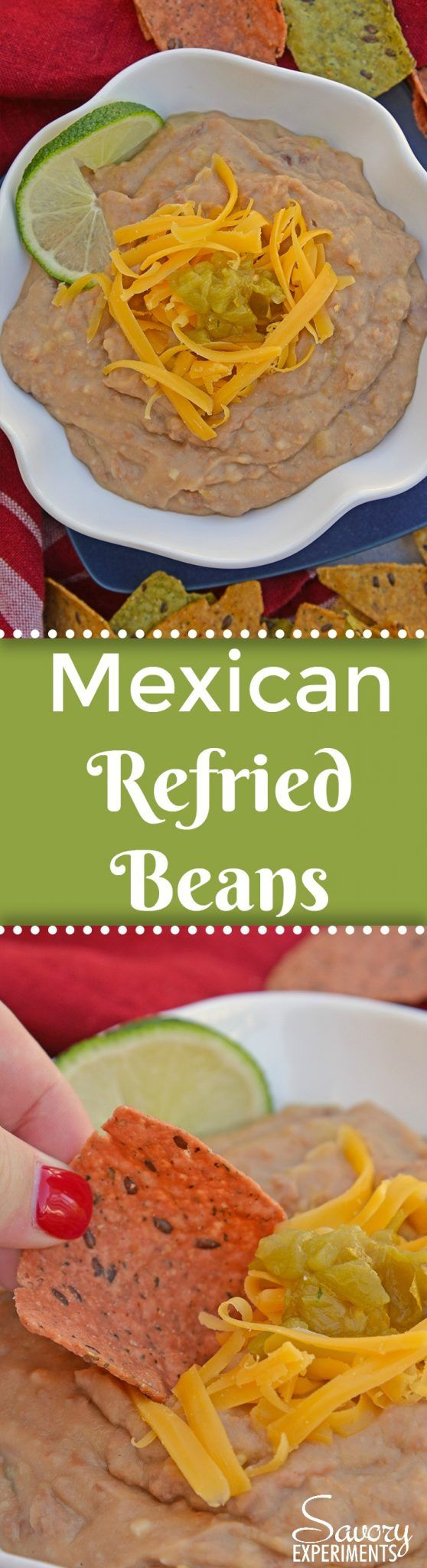 Mexican Refried Beans are an easy homemade refried bean recipe using pinto beans, green chilies, cheese and Mexican spices. Ready in just 15 minutes! #refriedbeans #mexicansidedish AD www.savoryexperiments.com  via @savorycooking