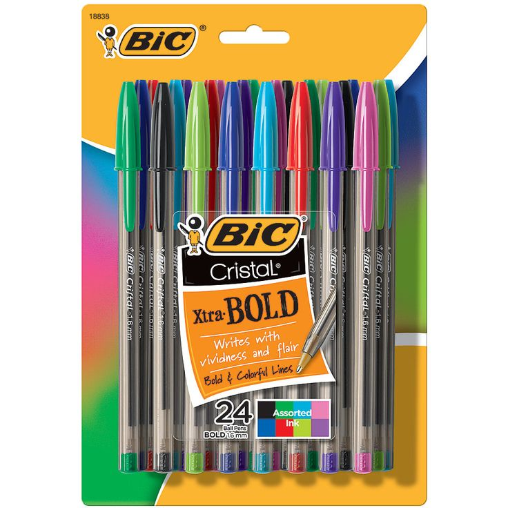 BIC® Cristal Ballpoint Pens, Bold Point, 1.6mm, Translucent Barrel, Assorted Ink Colors, Pack Of 24