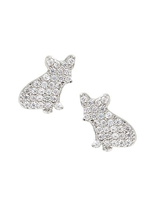 a80579f33 Banana Republic Womens Pave French Bulldog Stud Earring Silver Size One