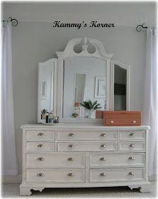 Kammy's Korner: I did it.  Painted my dark cherry finish bedroom set.  Dresser REVEAL!