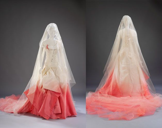 This assymetrical, spray-painted gown was worn by Gwen Stefani during her wedding to Gavin Rossdae in 2002.