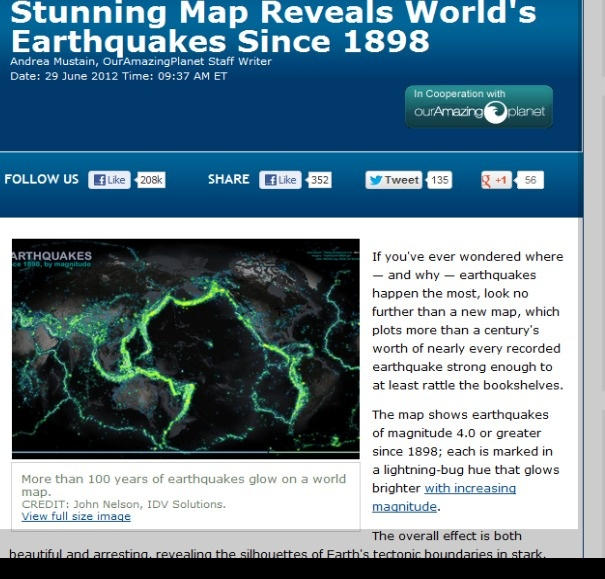 Over 100 years of earthquakes on world map. #earthquake #map #livescience.com