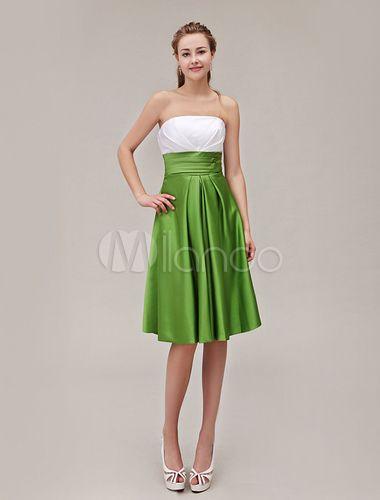 Vestido de damas de honor de satén con escote strapless y pliegues - Milanoo.com.  67€ canesu blanco y falda en verde champan naranja o lavanda