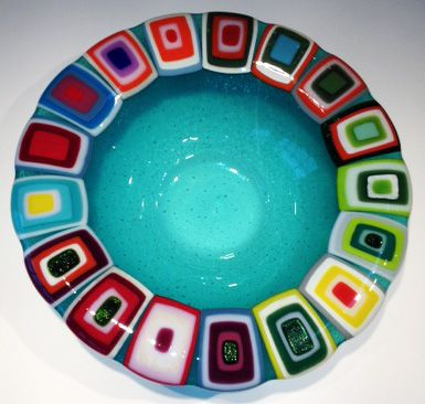 Glass bowl: Turquiose. 40 cm in diameter. By the danish designer and artist Louise Lagoni.