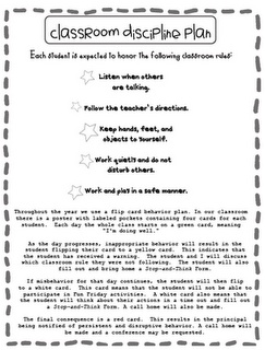 This is a classroom discipline plan that could be drawn up and sent home with the students once the entire classroom has agreed to abide by it. The students could take it home, read it to their parents, and send it back with a signature to show that their child acknowledges to obey their classroom rules.