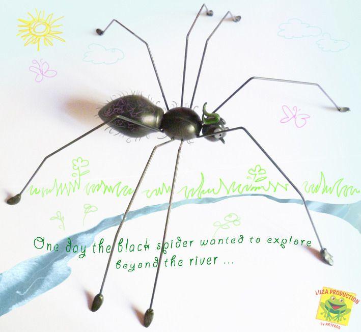 scultura in fimo, ragno : Arte della ceramica di luza