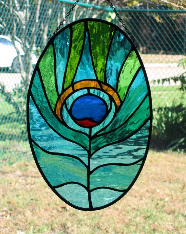 "Nancy Anderson Patrey Entry for Pattern Mania Craft Contest. Stained Glass Panel of peacock feather. Pattern is from ""Art Nouveau Windows Stained Glass Pattern Book"" by Carolyn Relei."