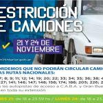 Restricción a la circulación de camiones por fin de semana largo: Día de la Soberanía Nacional 20 de noviembre