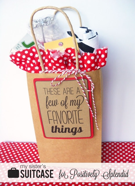 Favorite Things Gift Idea - could be used for a visiting teaching gift, welcome to our ward gift, or moving away gift - love it!