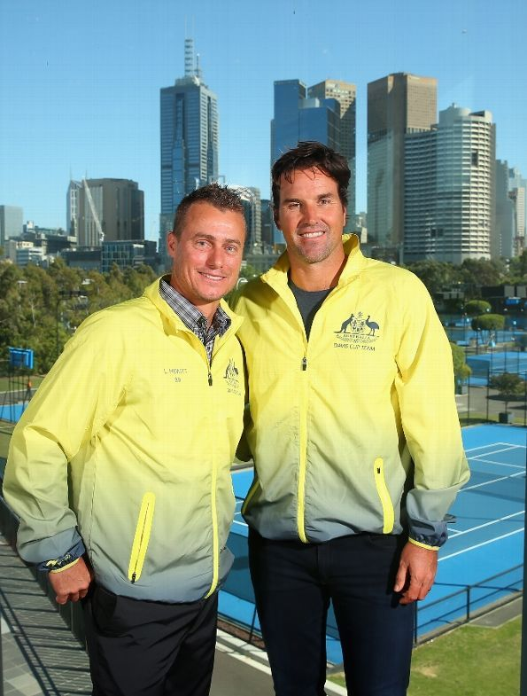MELBOURNE, AUSTRALIA - OCTOBER 27: Lleyton Hewitt and Pat Rafter pose during a Tennis Australia media opportunity at Melbourne Park at Melbourne Park on October 27, 2015 in Melbourne, Australia. Hewitt was today named as Australia's Davis Cup Captain (Photo by Quinn Rooney/Getty Images)