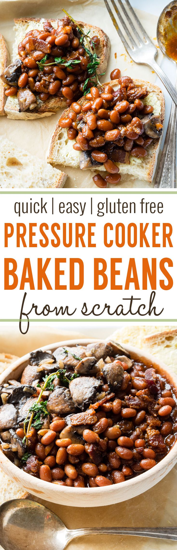 Pressure Cooker Baked Beans (GF) - easy, quick and made from scratch! Make a pot of Pressure Cooker Baked Beans, have it for dinner, and the next morning, serve it on toast at breakfast. With this recipe, you can make baked beans in less than 1 hour. #pressurecooker #bakedbeans #beans #instantpot