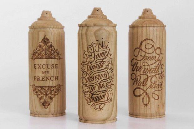 Wooden Spray Cans par Thibaut Malet et Zics Design