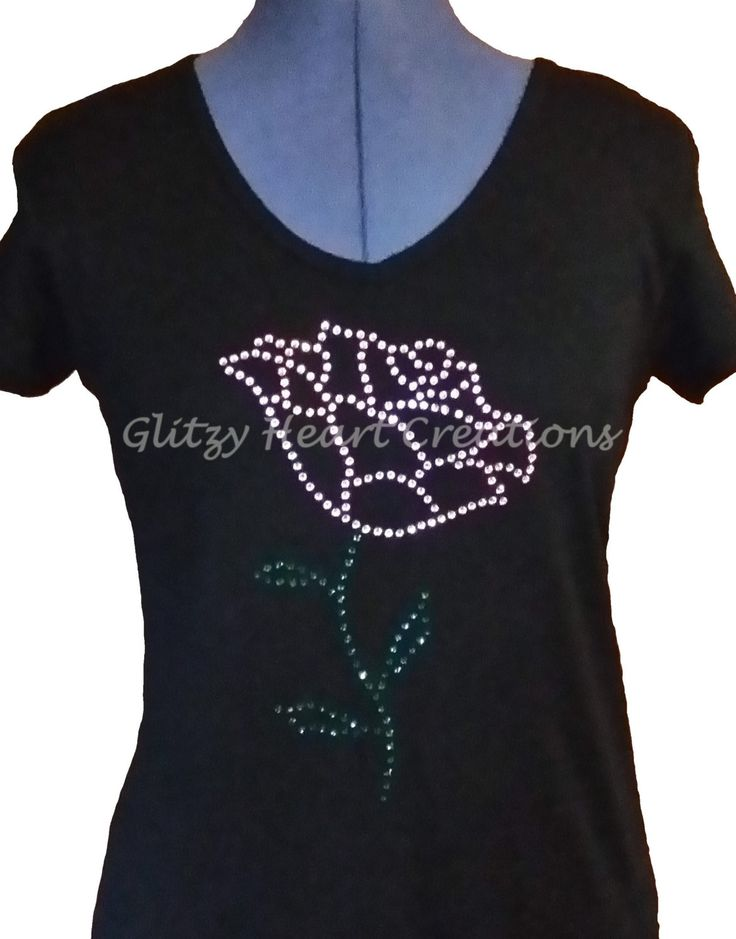 Rhinestone T-shirt, Single Rose Design, Women's Tee - Crystal Decorated Shirt by GlitzyHeartCreations on Etsy