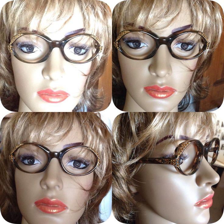 Vintage Eyewear 1950s AG Angela Made in France Brown Frames Topaz Rhinestone Details Retro Eye Glasses Beyond Cat Eye Prescription Glasses by MarveltyVintage on Etsy
