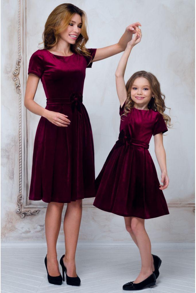 Сукня для дівчинки оксамитова з пишною спідницею та поясом-бантом • колір: темно-вишневий • інтернет магазин • vilenna.ua