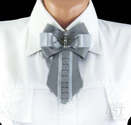 Броши ручной работы. Ярмарка Мастеров - ручная работа. Купить Брошь галстук ручной работы из репсовой и атласной лент. Handmade.
