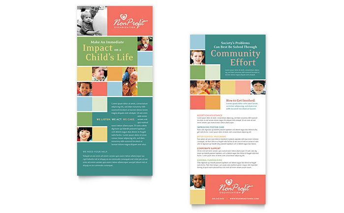 Non Profit Association For Children Rack Card Template Design By