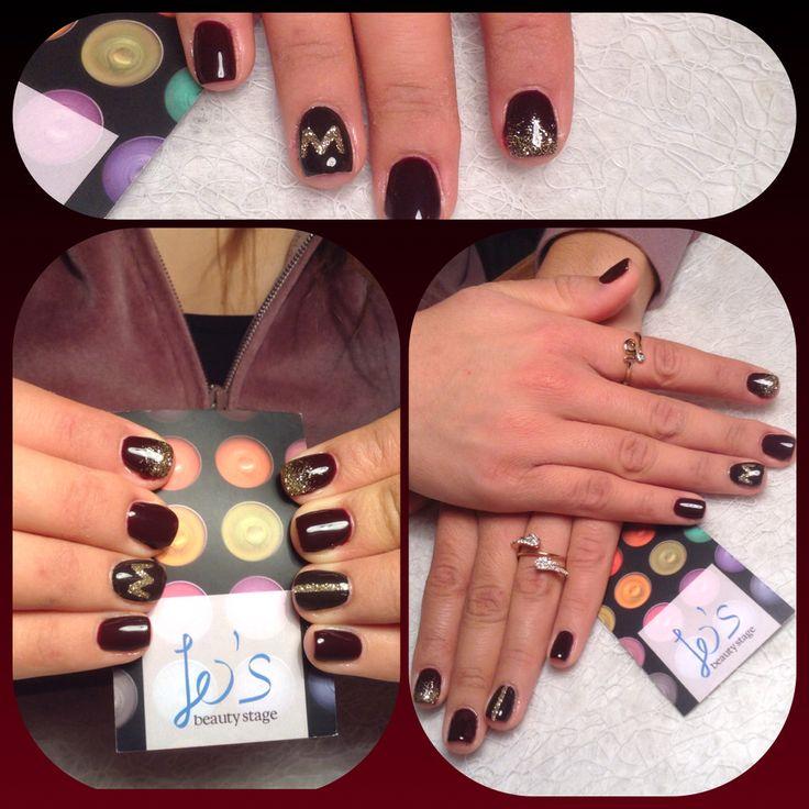 Nails nailart glitter monogram dArk nails