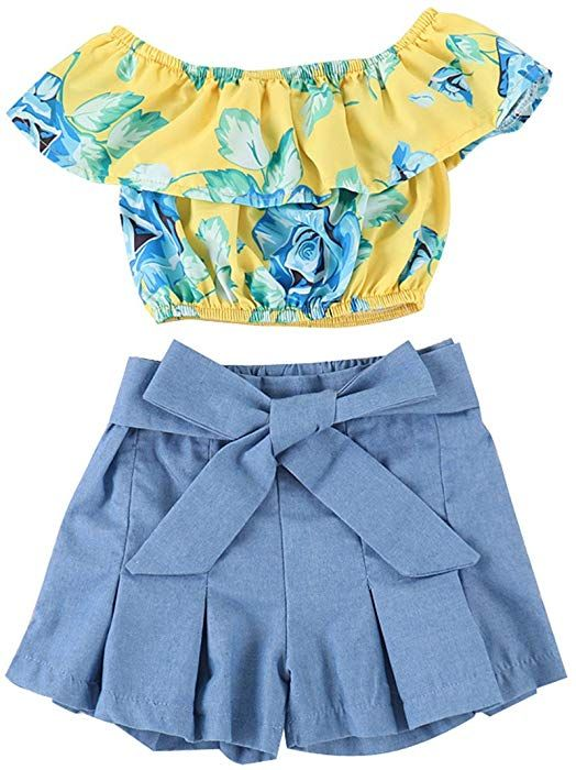 4787d77dba8 Amazon.com  Toddler Little Baby Girls Ruffle Floral Off Shoulder Crop  Tops+Bowknot Denim Shorts Skirt Set 2 Piece Summer Clothes Outfits 4T   Clothing