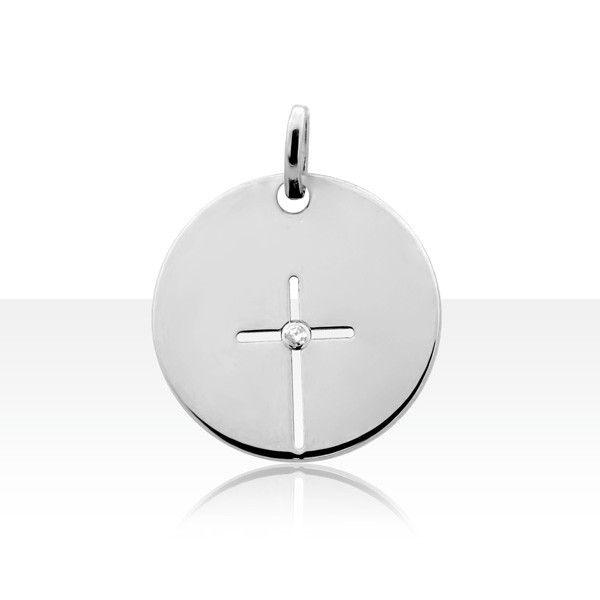 Médaille CROIX AJOUREE DIAMANT Or 375°°° | BIJOUX DE BAPTEME BEBE | TERRE DE BIJOUX.COM