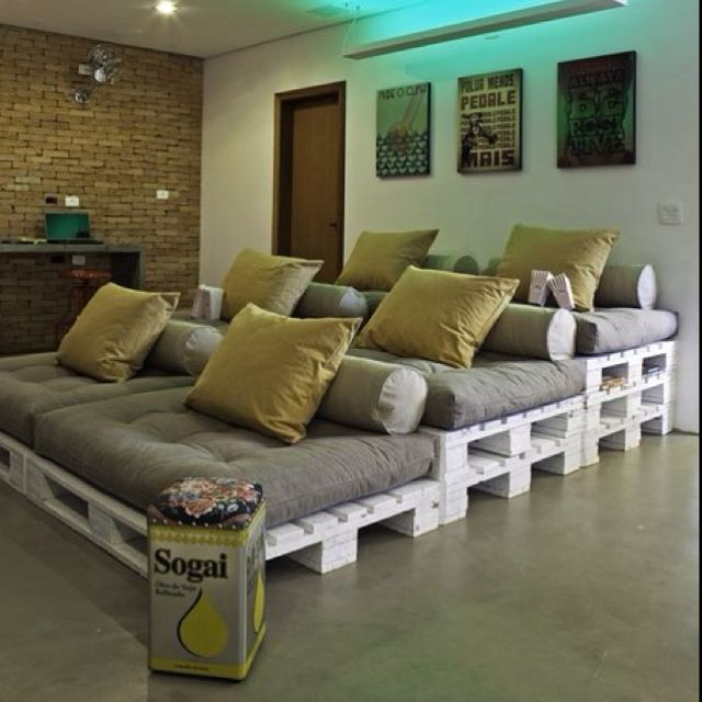 Upcycled pallets. Interesting seating for media room. Would be excellent for a playroom!
