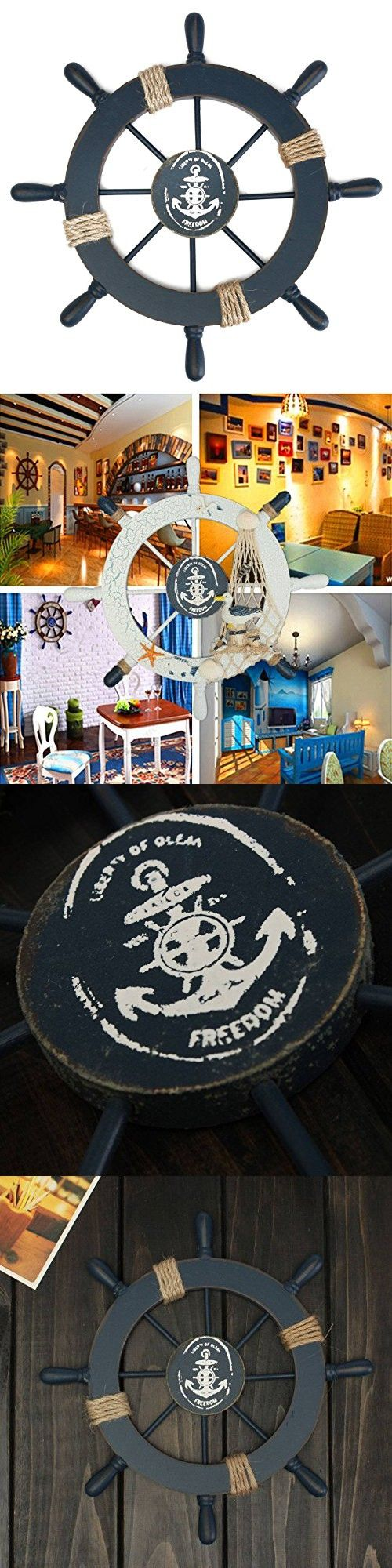 725 best nautical home decor images on pinterest nautical blue rosenice wooden ship wheel nautical boat ship wheel wall decor dark blue amipublicfo Images