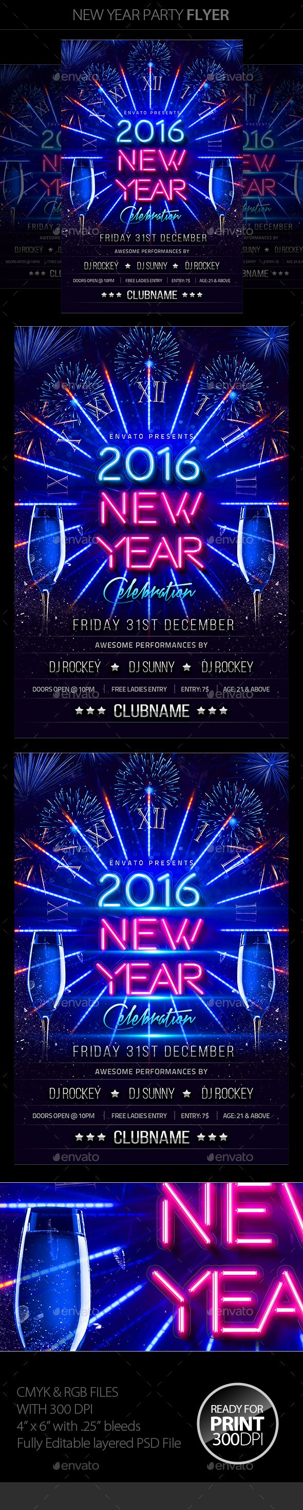 New Year Party Flyer Template PSD #design Download: http://graphicriver.net/item/new-year-party-flyer/13535217?ref=ksioks