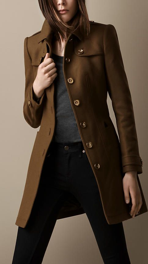 I really need one! Leather Trim Military Coat   Burberry