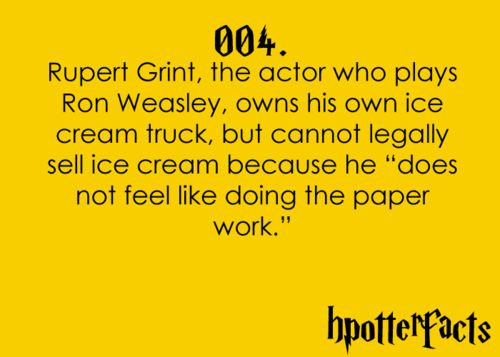 Harry Potter Facts #004. Looked it up, he gives the ice cream away for free! That's awesome.
