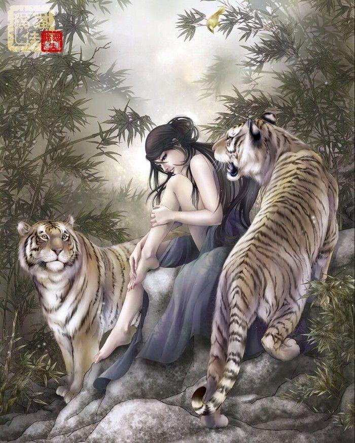 By [fantasy Art ~ Woman U0026 Tigers]