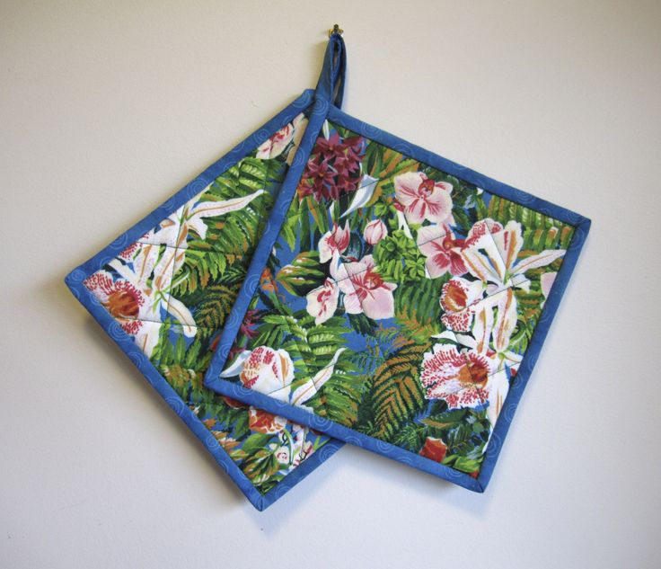"""Quilted Potholders """"Orchid Garden"""" Set of 2 Quilted Hotpads, Quiltsy Team, Fabric Trivet, Pink and White Orchids by OrchidFabricDecor on Etsy"""