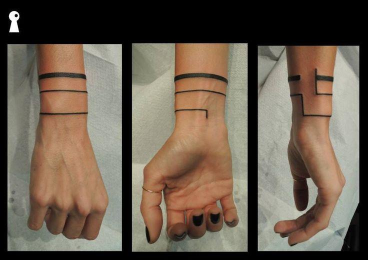 Three stripes minimal blackwork minimal armband tattoo by greek artist Antonis / Inkey Tattoo studio