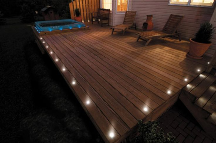 This deck lighting lights up the outside edges of the entire deck.