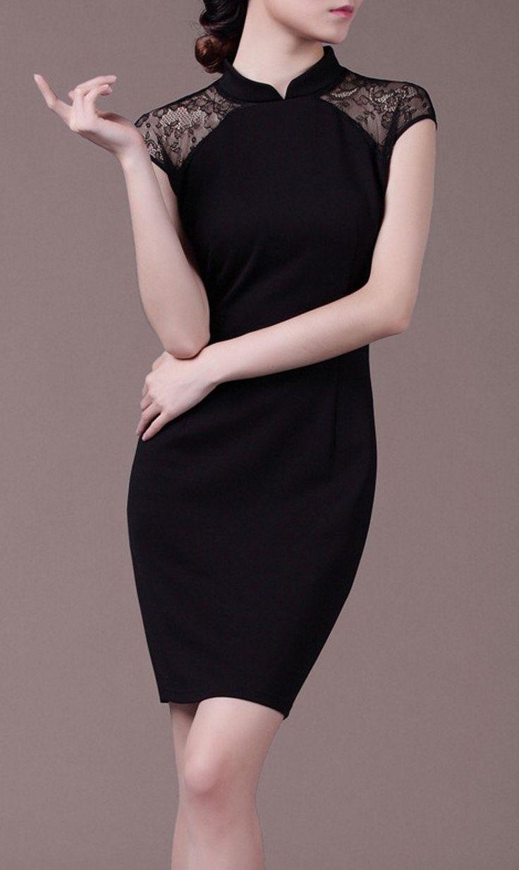 Amazon | シンプル ブラック チャイナ ドレス モチーフ タイト ライン ワンピース (M) | ワンピース・チュニック 通販
